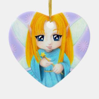 Chibi Faery Ceramic Heart Ornament