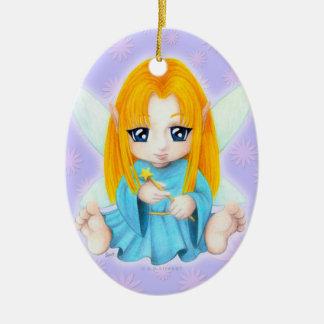 Chibi Faery Ceramic Oval Ornament