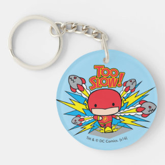 Chibi Flash Outrunning Rockets Double-Sided Round Acrylic Keychain