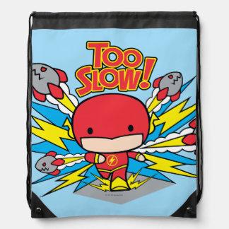 Chibi Flash Outrunning Rockets Drawstring Bag