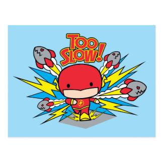 Chibi Flash Outrunning Rockets Postcard