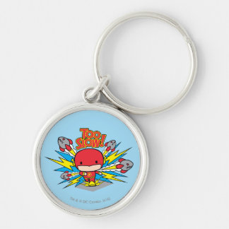 Chibi Flash Outrunning Rockets Silver-Colored Round Keychain