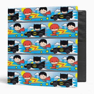 Chibi Flash, Superman, and Batman Racing Pattern 3 Ring Binder