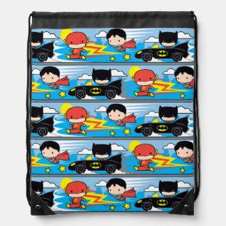 Chibi Flash, Superman, and Batman Racing Pattern Drawstring Bag