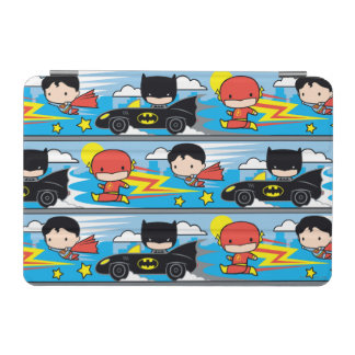 Chibi Flash, Superman, and Batman Racing Pattern iPad Mini Cover