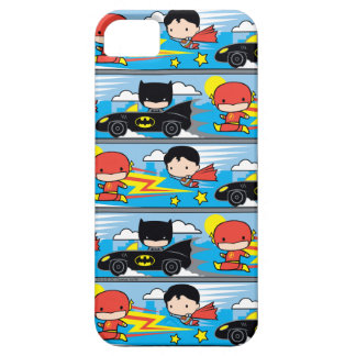 Chibi Flash, Superman, and Batman Racing Pattern iPhone 5 Case