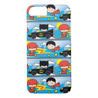 Chibi Flash, Superman, and Batman Racing Pattern iPhone 7 Case
