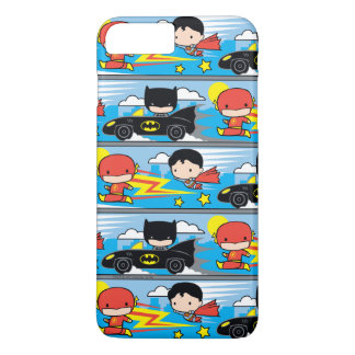 Chibi Flash, Superman, and Batman Racing Pattern iPhone 7 Plus Case