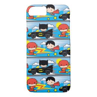 Chibi Flash, Superman, and Batman Racing Pattern iPhone 8/7 Case