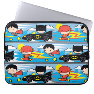 Chibi Flash, Superman, and Batman Racing Pattern Laptop Sleeve