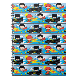 Chibi Flash, Superman, and Batman Racing Pattern Notebook