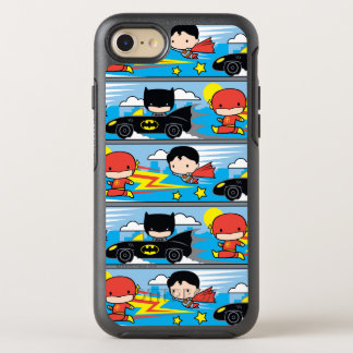 Chibi Flash, Superman, and Batman Racing Pattern OtterBox Symmetry iPhone 7 Case