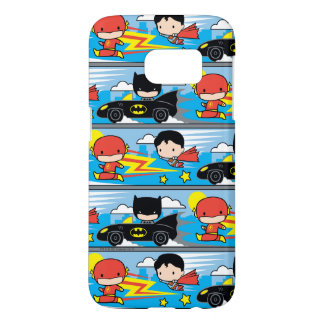 Chibi Flash, Superman, and Batman Racing Pattern Samsung Galaxy S7 Case