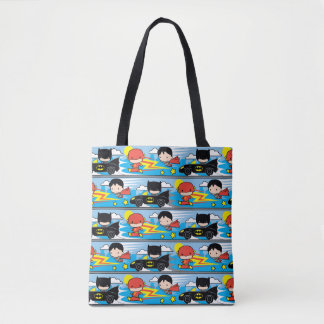 Chibi Flash, Superman, and Batman Racing Pattern Tote Bag