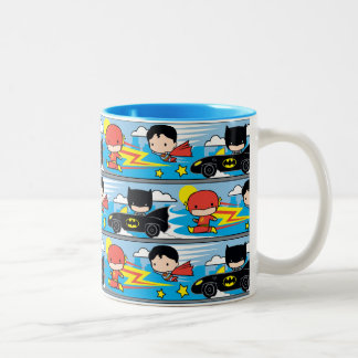 Chibi Flash, Superman, and Batman Racing Pattern Two-Tone Coffee Mug
