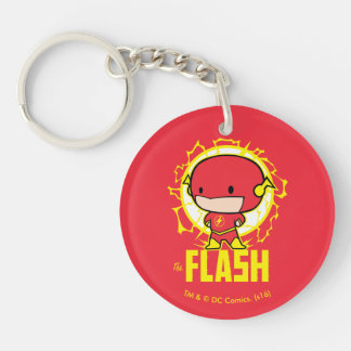 Chibi Flash With Electricity Double-Sided Round Acrylic Keychain