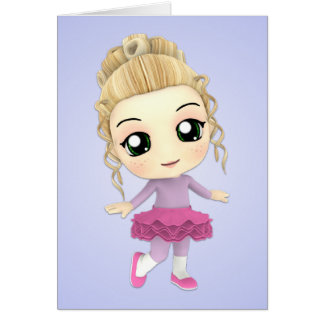 Chibi Girl Ballerina Birthday Card