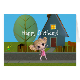 Chibi Girl Happy Birthday Card