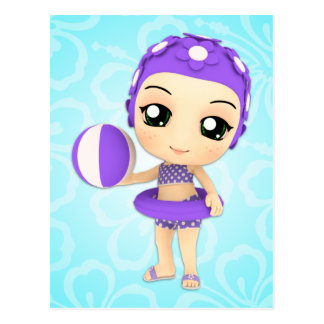 Chibi Girl Pool Party Postcard