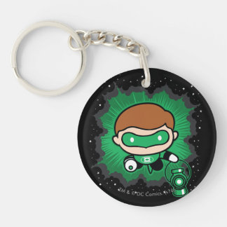 Chibi Green Lantern Flying Through Space Double-Sided Round Acrylic Keychain