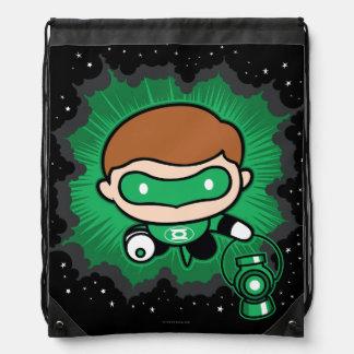 Chibi Green Lantern Flying Through Space Drawstring Bag