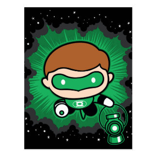 Chibi Green Lantern Flying Through Space Postcard
