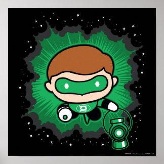 Chibi Green Lantern Flying Through Space Poster