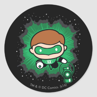 Chibi Green Lantern Flying Through Space Round Sticker