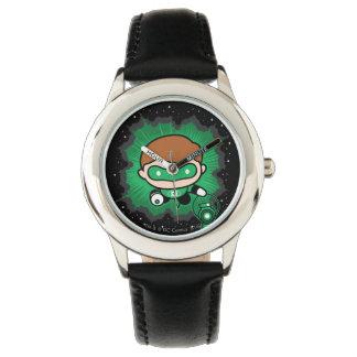 Chibi Green Lantern Flying Through Space Wrist Watches