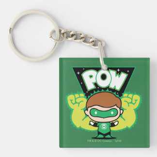 Chibi Green Lantern Forming Giant Fists Double-Sided Square Acrylic Keychain