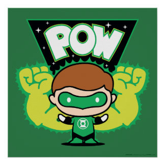 Chibi Green Lantern Forming Giant Fists Poster