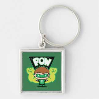 Chibi Green Lantern Forming Giant Fists Silver-Colored Square Keychain