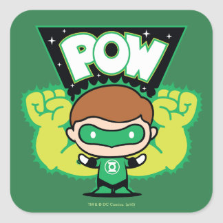 Chibi Green Lantern Forming Giant Fists Square Sticker