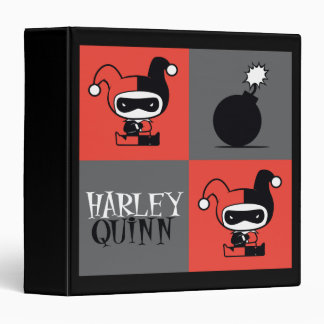 Chibi Harley Quinn Checker Pattern 3 Ring Binders