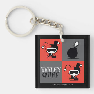 Chibi Harley Quinn Checker Pattern Double-Sided Square Acrylic Keychain
