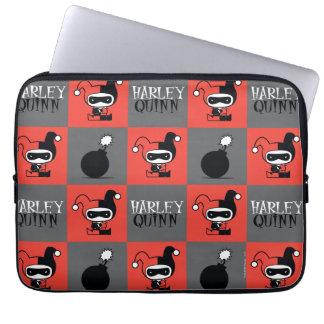 Chibi Harley Quinn Checker Pattern Laptop Sleeve