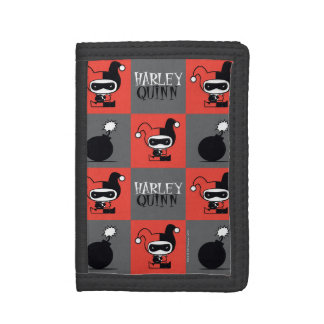 Chibi Harley Quinn Checker Pattern Trifold Wallet