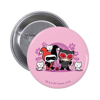 Chibi Harley Quinn & Chibi Catwoman With Cats 2 Inch Round Button