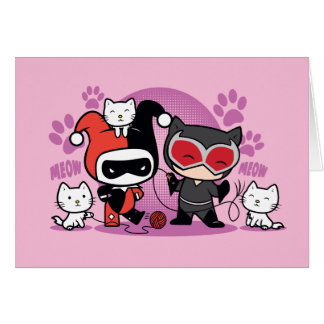 Chibi Harley Quinn & Chibi Catwoman With Cats Card