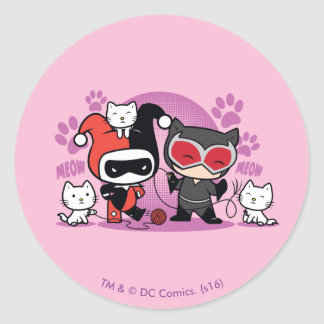 Chibi Harley Quinn & Chibi Catwoman With Cats Classic Round Sticker