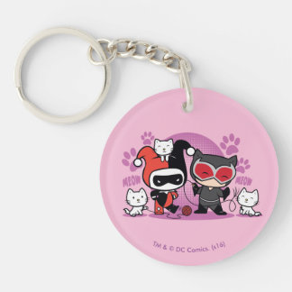 Chibi Harley Quinn & Chibi Catwoman With Cats Double-Sided Round Acrylic Keychain