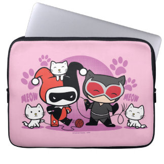 Chibi Harley Quinn & Chibi Catwoman With Cats Laptop Computer Sleeves