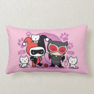 Chibi Harley Quinn & Chibi Catwoman With Cats Lumbar Pillow