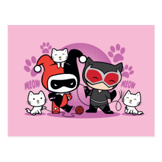 Chibi Harley Quinn & Chibi Catwoman With Cats Postcard