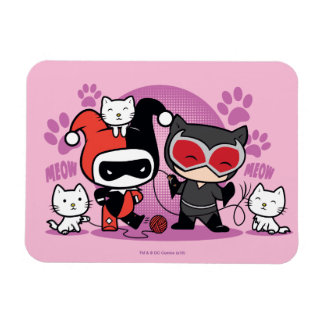 Chibi Harley Quinn & Chibi Catwoman With Cats Rectangular Photo Magnet