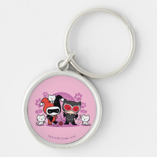 Chibi Harley Quinn & Chibi Catwoman With Cats Silver-Colored Round Keychain