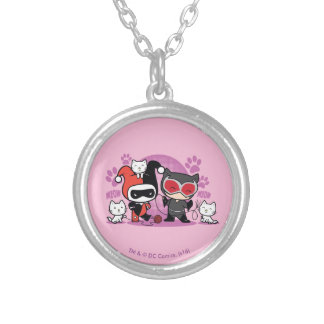 Chibi Harley Quinn & Chibi Catwoman With Cats Silver Plated Necklace