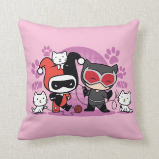 Chibi Harley Quinn & Chibi Catwoman With Cats Throw Pillow