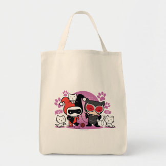 Chibi Harley Quinn & Chibi Catwoman With Cats Tote Bag