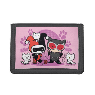 Chibi Harley Quinn & Chibi Catwoman With Cats Tri-fold Wallets